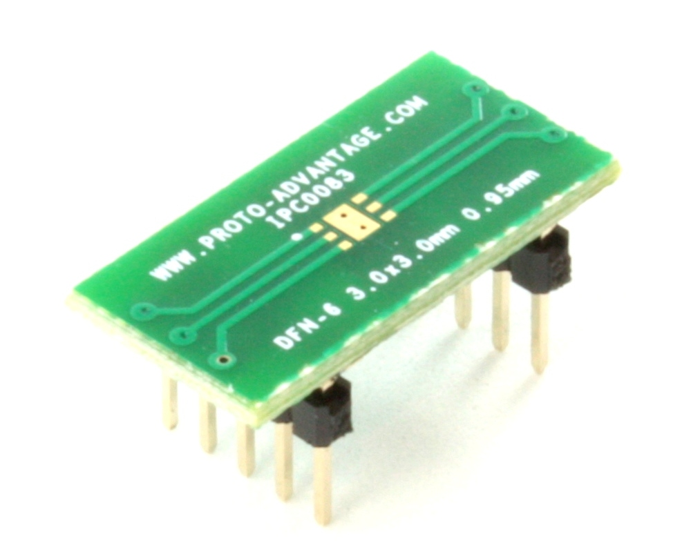 DFN-6 to DIP-10 SMT Adapter (0.95 mm pitch, 3.0 x 3.0 mm body) 0