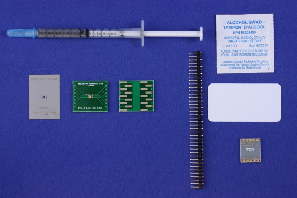 DFN-14 (0.4 mm pitch, 3.0 x 3.0 mm body) PCB and Stencil Kit 0