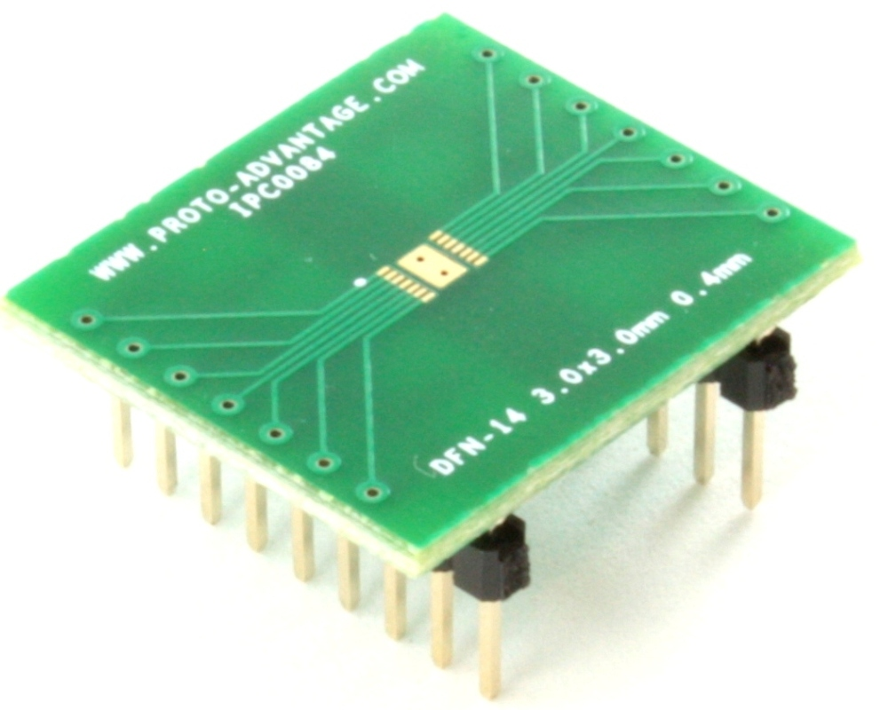 DFN-14 to DIP-18 SMT Adapter (0.4 mm pitch, 3.0 x 3.0 mm body) 0