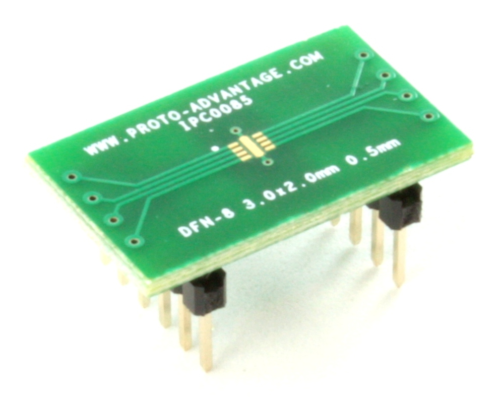 DFN-8 to DIP-12 SMT Adapter (0.5 mm pitch, 3.0 x 2.0 mm body) 0