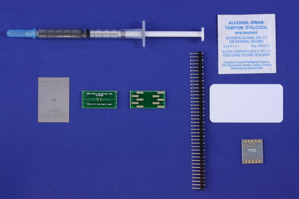 DFN-10 (0.4 mm pitch, 2.0 x 2.0 mm body) PCB and Stencil Kit 0