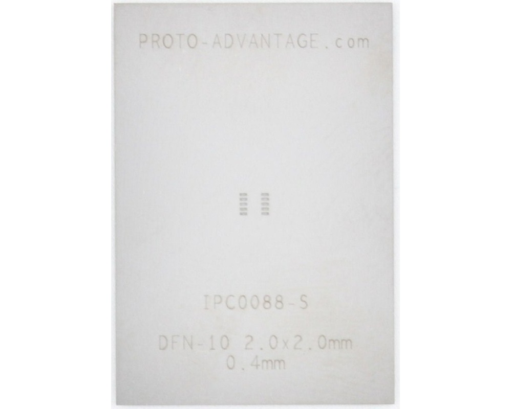 DFN-10 (0.4 mm pitch, 2.0 x 2.0 mm body) Stainless Steel Stencil 0