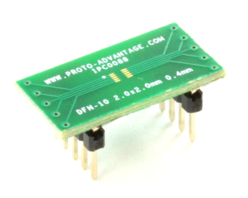 DFN-10 to DIP-10 SMT Adapter (0.4 mm pitch, 2.0 x 2.0 mm body) 0