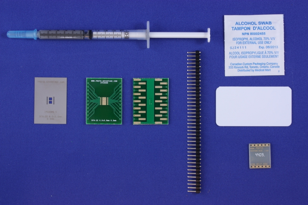 DFN-22 (0.5 mm pitch, 6.0 x 5.0 mm body) PCB and Stencil Kit 0
