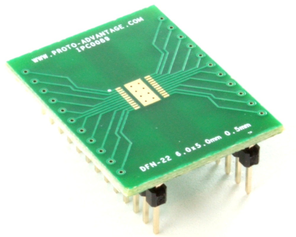 DFN-22 to DIP-26 SMT Adapter (0.5 mm pitch, 6.0 x 5.0 mm body) 0