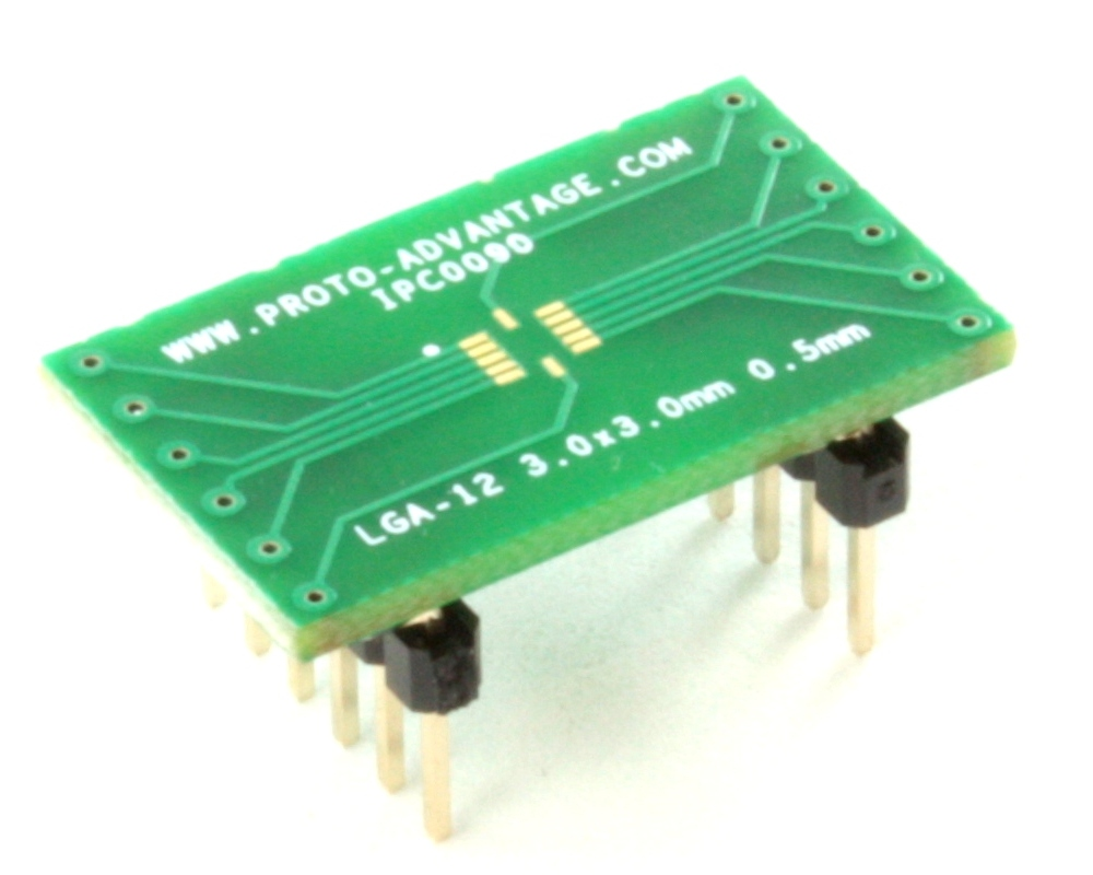 LGA-12 to DIP-12 SMT Adapter (0.5 mm pitch, 3.0 x 3.0 mm body) 0