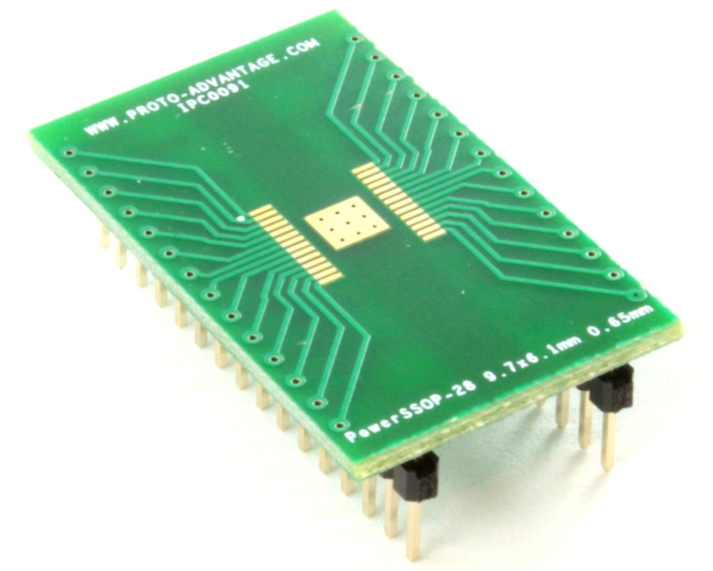 PowerSSOP-28 to DIP-32 SMT Adapter (0.65 mm pitch, 9.7 x 6.1mm) 0