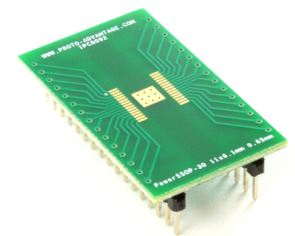 PowerSSOP-30 to DIP-34 SMT Adapter (0.65 mm pitch, 11 x 6.1 mm) 0