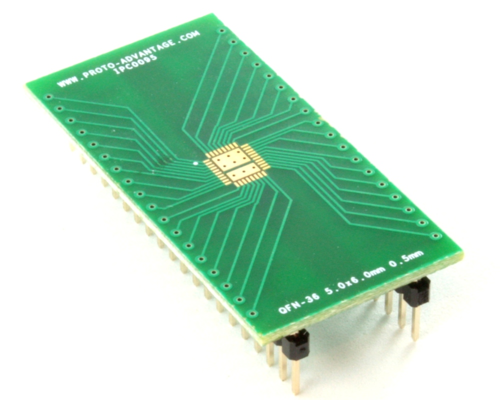 QFN-36 to DIP-40 SMT Adapter (0.5 mm pitch, 5.0 x 6.0 body, 3.45x4.57 split pad) 0