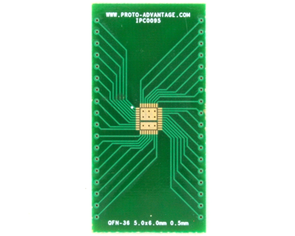 QFN-36 to DIP-40 SMT Adapter (0.5 mm pitch, 5.0 x 6.0 body, 3.45x4.57 split pad) 2