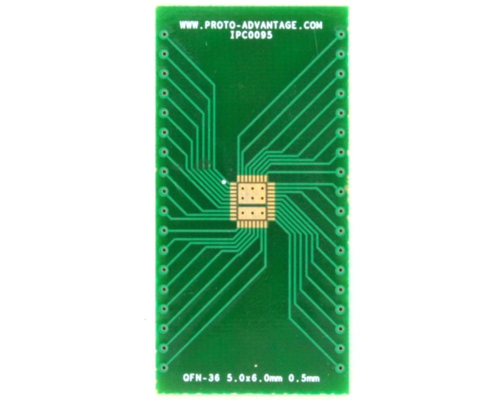QFN-36 to DIP-40 SMT Adapter (0.5 mm pitch, 5.0 x 6.0 body, 3.45x4.57 split pad) 2