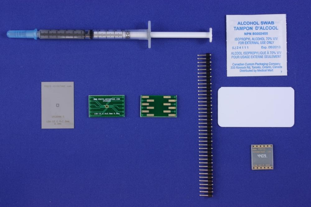 LGA-12 (0.5 mm pitch, 2.0 x 2.0 mm body) PCB and Stencil Kit 0