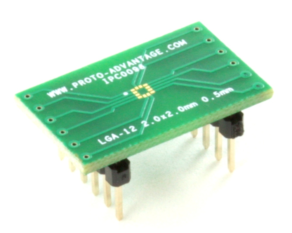 LGA-12 to DIP-12 SMT Adapter (0.5 mm pitch, 2.0 x 2.0 mm body) 0