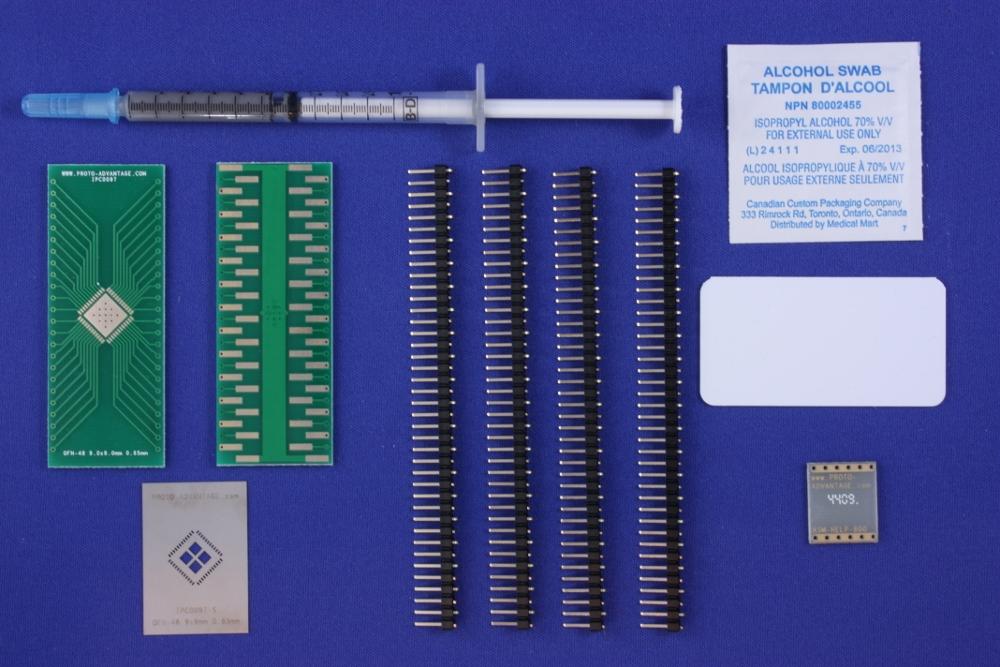 LFCSP-48 (0.65 mm pitch, 9.0 x 9.0 mm body, 6.8 x 6.8 mm pad) PCB and Stencil Ki 0