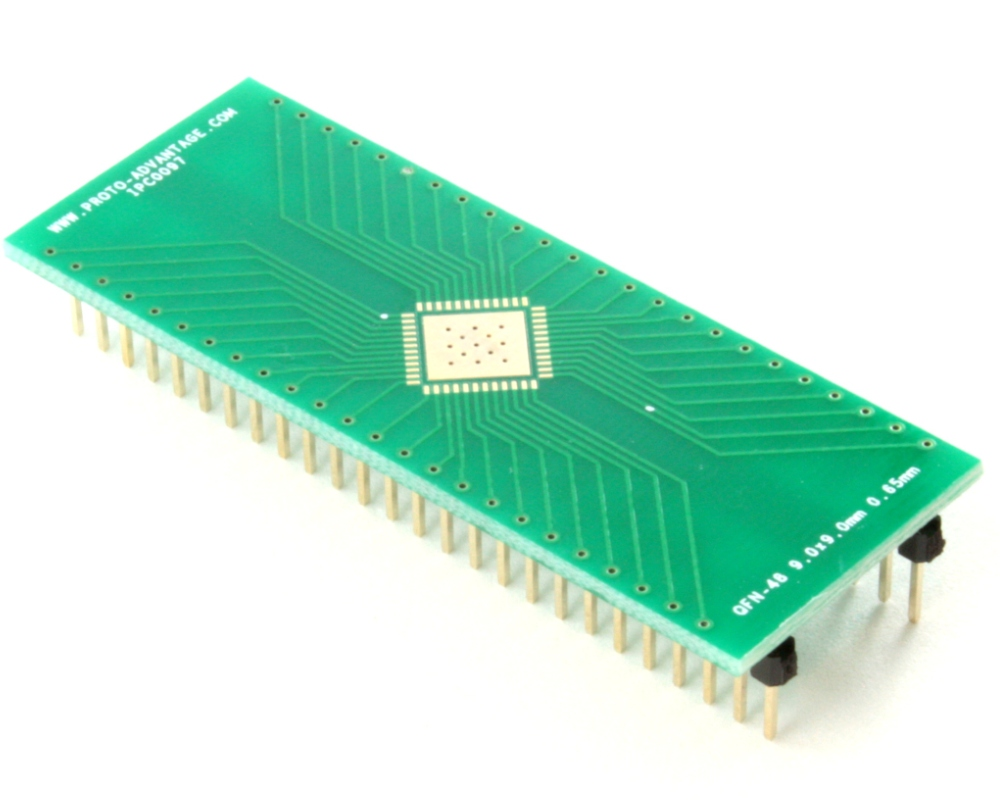 QFN-48 to DIP-52 SMT Adapter (0.65 mm pitch, 9.0 x 9.0 mm body, 6.8 x 6.8 mm pad 0