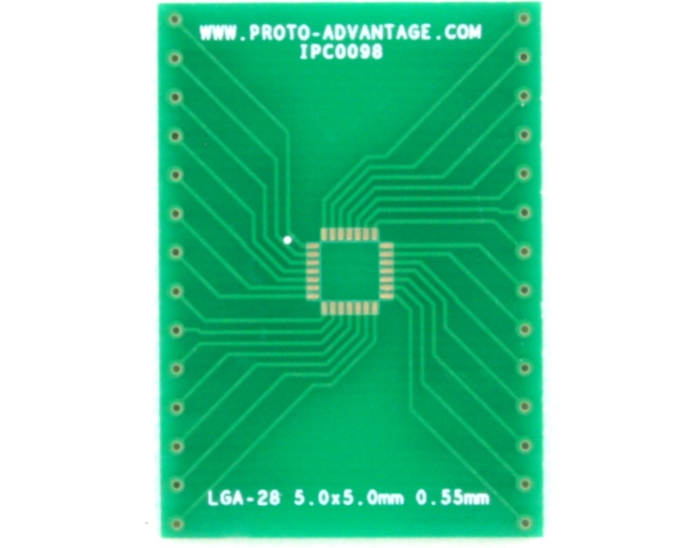 LGA-28 to DIP-28 SMT Adapter (0.55 mm pitch, 5.0 x 5.0 mm body) 2