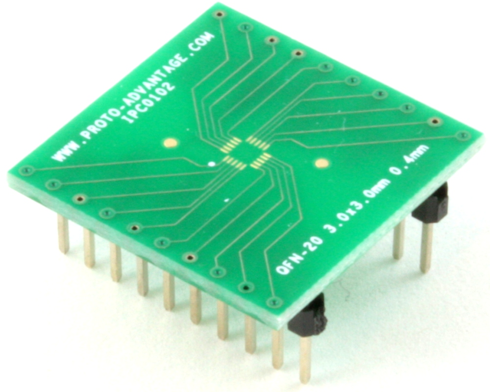 QFN-20 to DIP-20 SMT Adapter (0.4 mm pitch, 3.0 x 3.0 mm body) 0