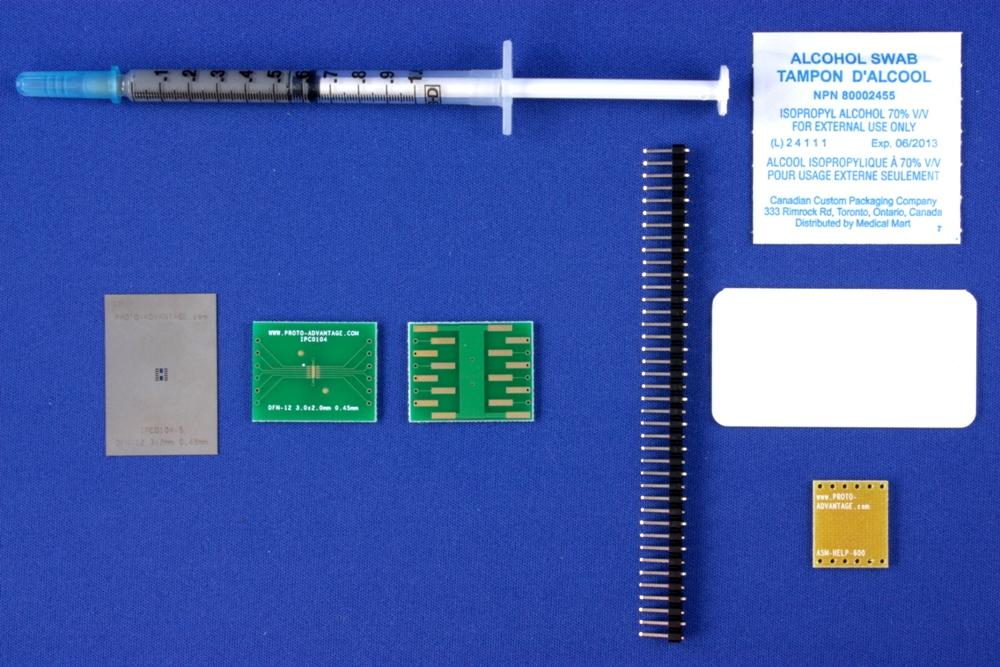 DFN-12 (0.45 mm pitch, 3.0 x 2.0 mm body) PCB and Stencil Kit 0