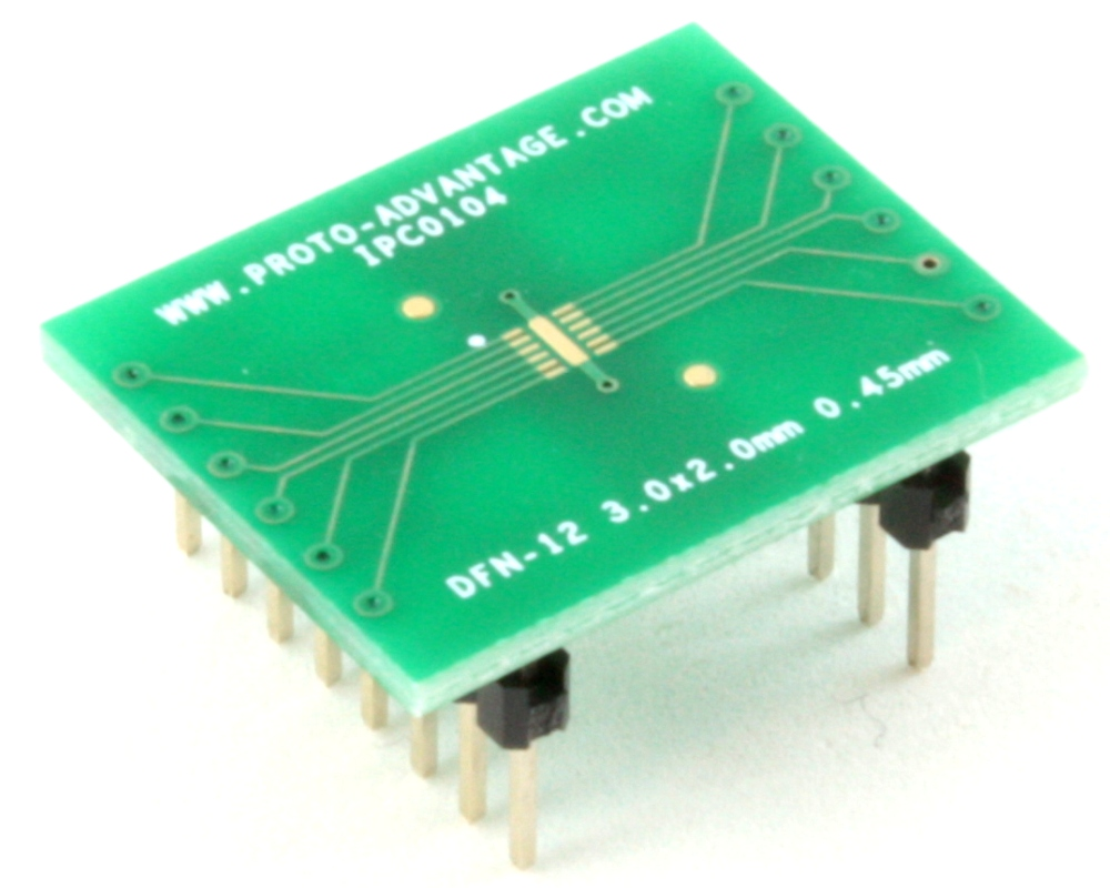 DFN-12 to DIP-16 SMT Adapter (0.45 mm pitch, 3.0 x 2.0 mm body) 0