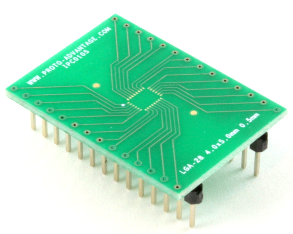 LGA-28 to DIP-28 SMT Adapter (0.5 mm pitch, 4.0 x 5.0 mm body) 0