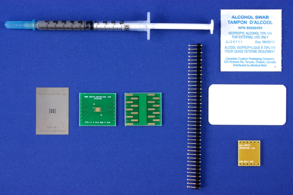 DFN-14 (0.5 mm pitch, 4.0 x 4.0 mm body) PCB and Stencil Kit 0