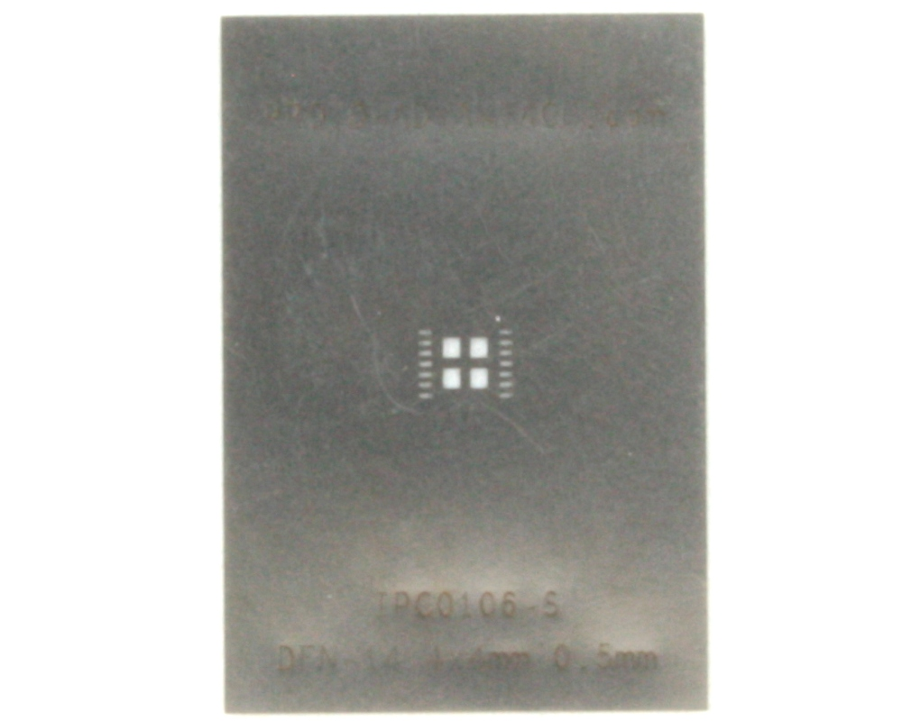 DFN-14 (0.5 mm pitch, 4.0 x 4.0 mm body) Stainless Steel Stencil 0