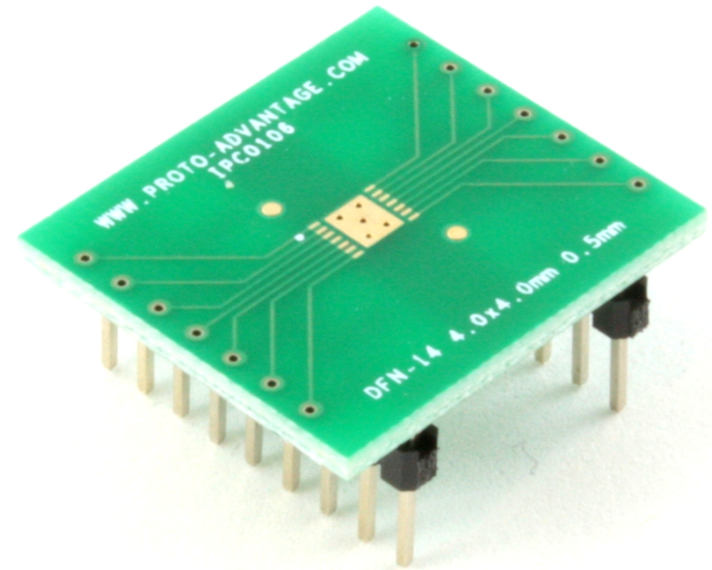 DFN-14 to DIP-18 SMT Adapter (0.5 mm pitch, 4.0 x 4.0 mm body) 0