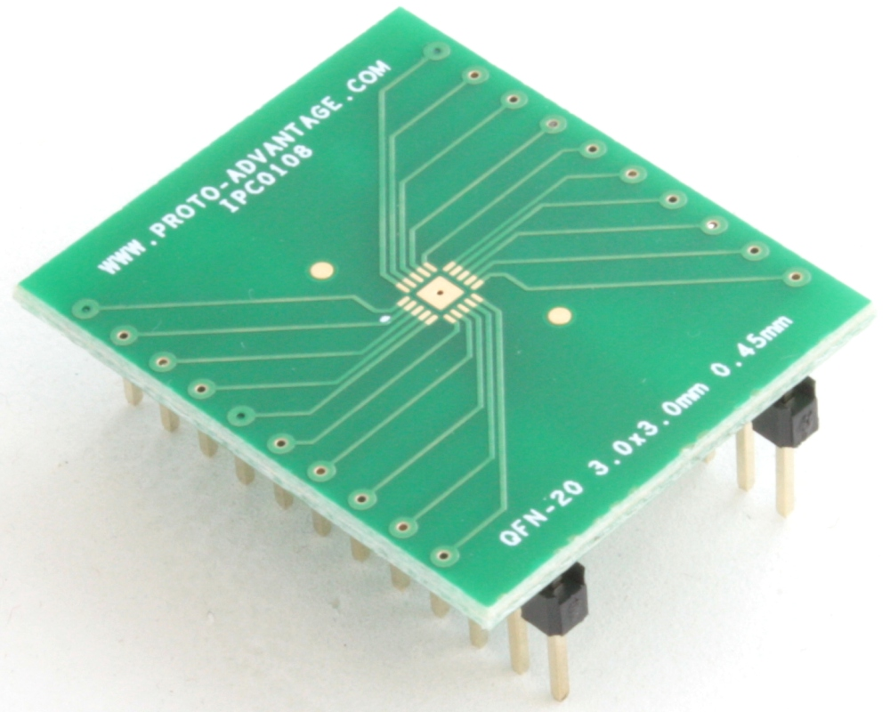 QFN-20 to DIP-24 SMT Adapter (0.45 mm pitch, 3.0 x 3.0 mm body) 0