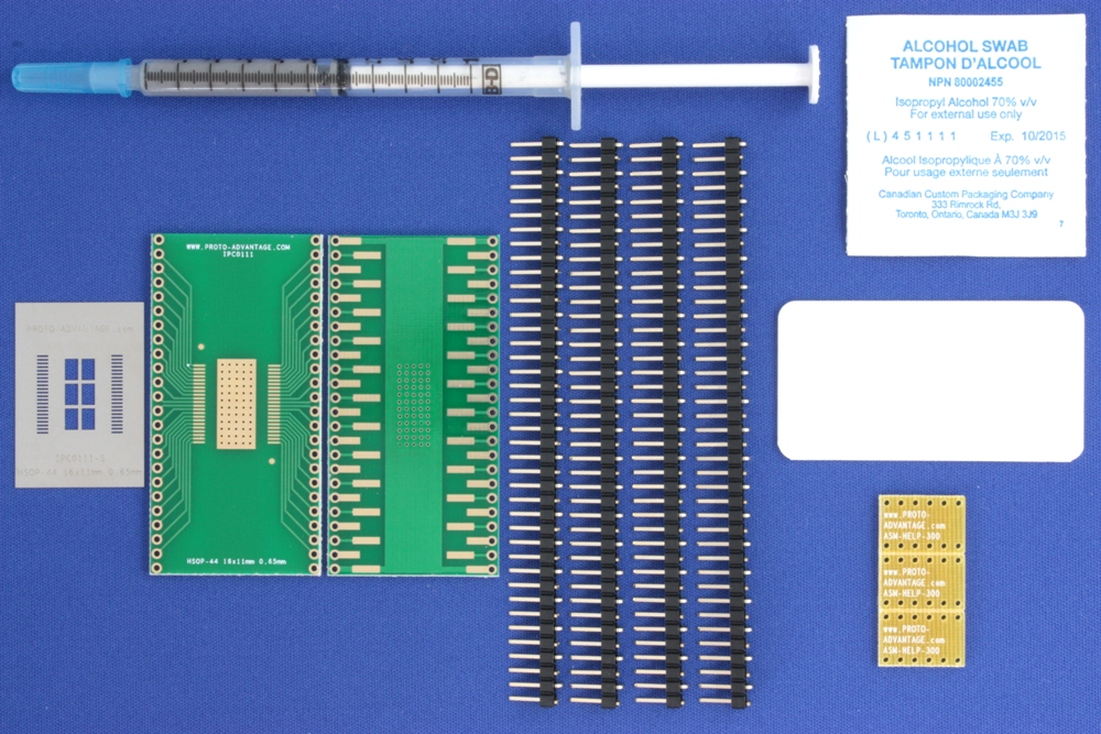 HSOP-44 (0.65 mm pitch, 16 x 11 mm body) PCB and Stencil Kit 0