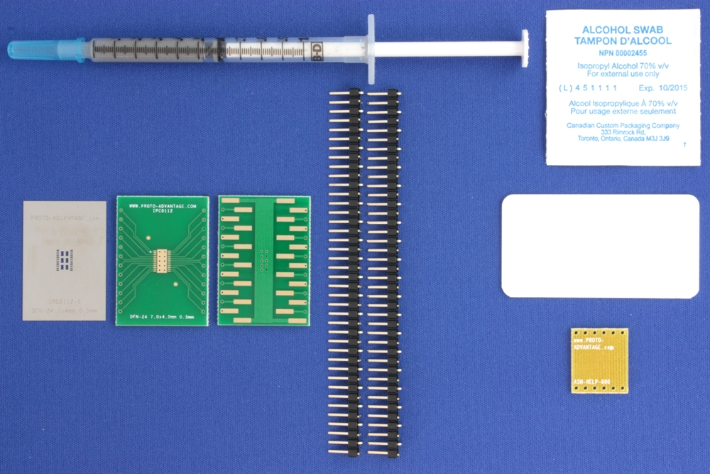 DFN-24 (0.5 mm pitch, 7.0 x 4.0 mm body) PCB and Stencil Kit 0
