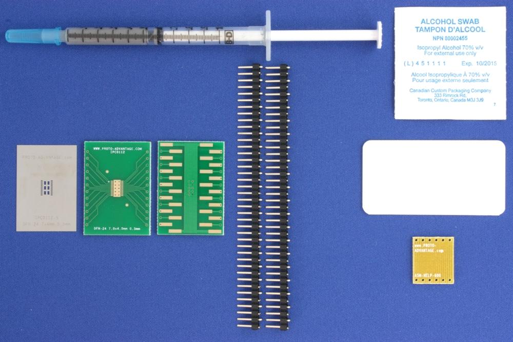 DFN-24 (0.5 mm pitch, 7.0 x 4.0 mm body) PCB and Stencil Kit 0