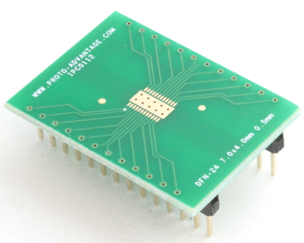 DFN-24 to DIP-28 SMT Adapter (0.5 mm pitch, 7.0 x 4.0 mm body) 0
