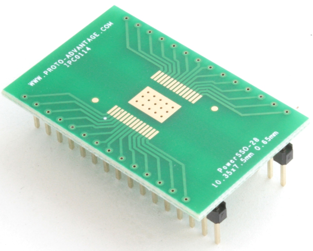 PowerSSO-28 to DIP-32 SMT Adapter (0.65 mm pitch, 10.35 x 7.5 mm body) 0