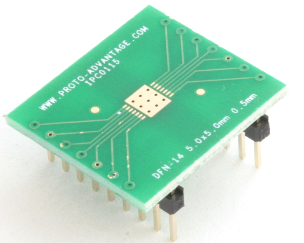 DFN-14 to DIP-18 SMT Adapter (0.5 mm pitch, 5.0 x 5.0 mm body) 0