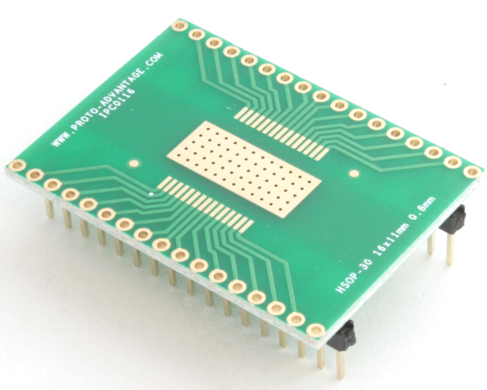 HSOP-30 to DIP-34 SMT Adapter (0.8 mm pitch, 16 x 11 mm body) 0