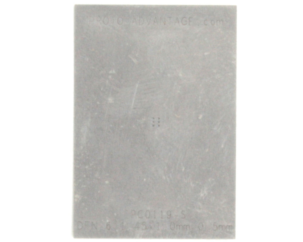 DFN-6 (0.5 mm pitch, 1.45 x 1.0 mm body) Stainless Steel Stencil 0