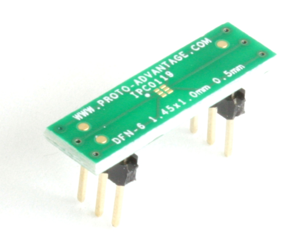 DFN-6 to DIP-6 SMT Adapter (0.5 mm pitch, 1.45 x 1.0 mm body) 0