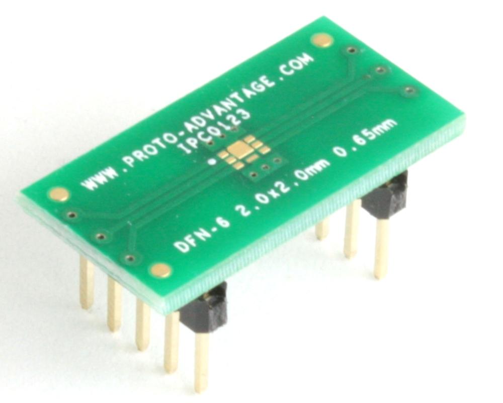 DFN-6 to DIP-10 SMT Adapter (0.65 mm pitch, 2.0 x 2.0 mm body, split pad) 0