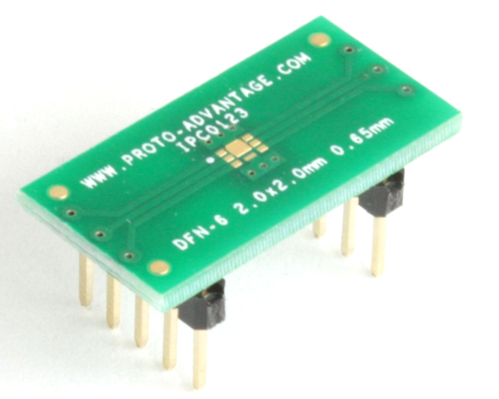 DFN-6 to DIP-10 SMT Adapter (0.65 mm pitch, 2.0 x 2.0 mm body, split pad) 0