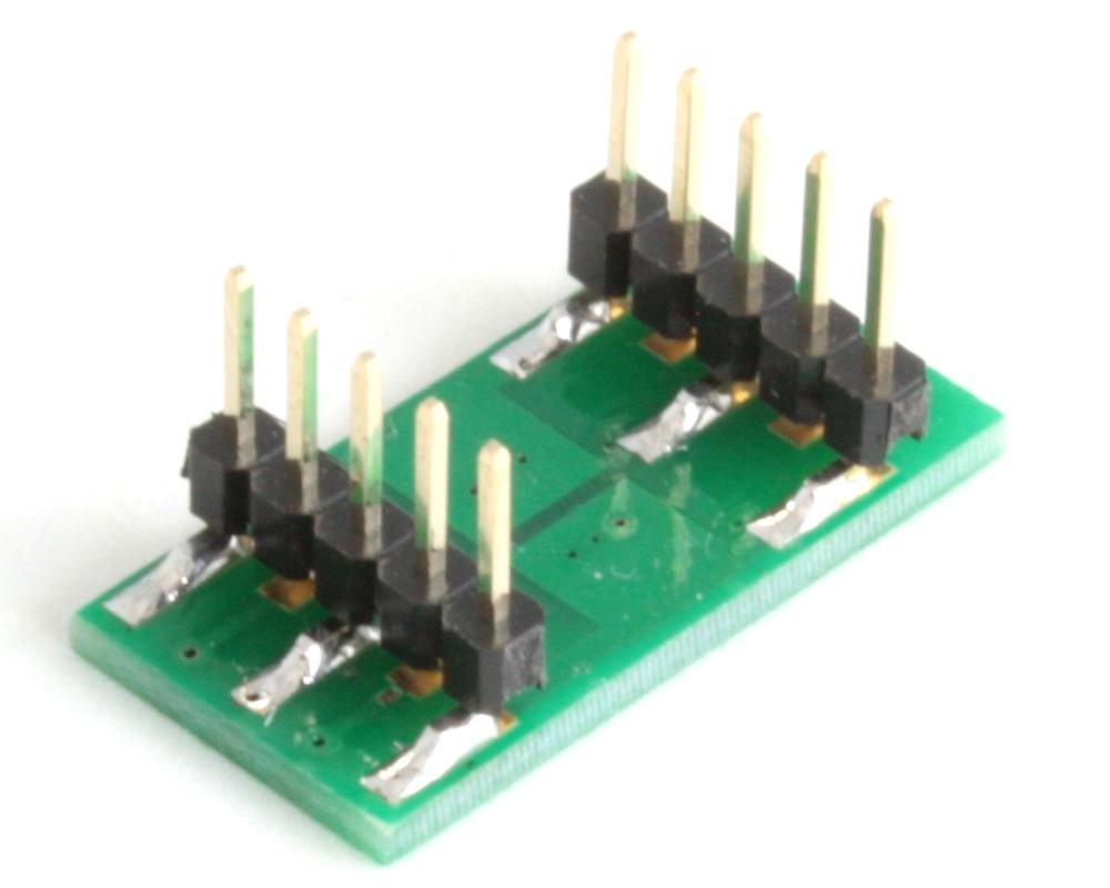DFN-6 to DIP-10 SMT Adapter (0.65 mm pitch, 2.0 x 2.0 mm body, split pad) 1