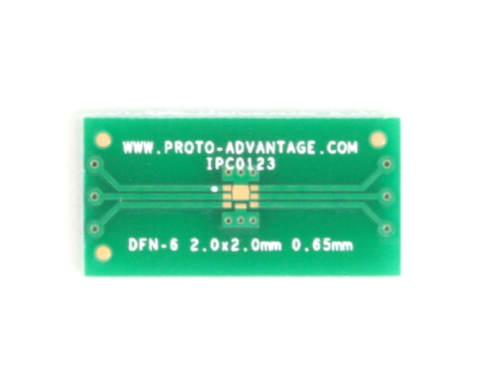 DFN-6 to DIP-10 SMT Adapter (0.65 mm pitch, 2.0 x 2.0 mm body, split pad) 2