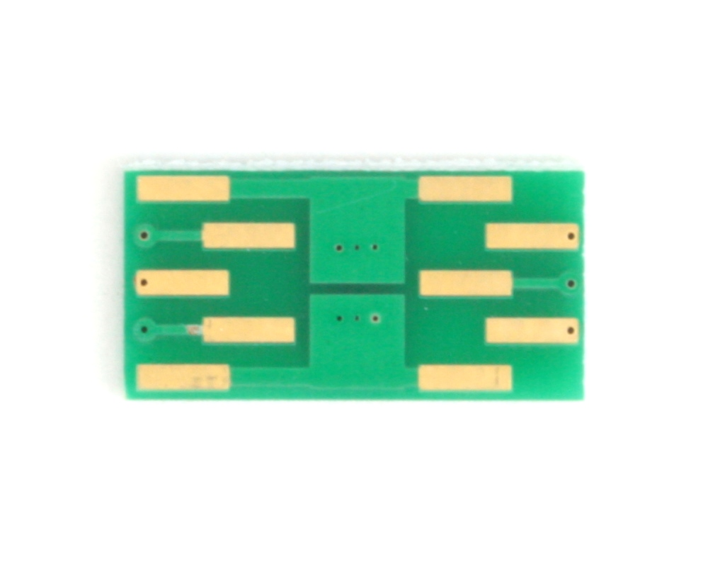 DFN-6 to DIP-10 SMT Adapter (0.65 mm pitch, 2.0 x 2.0 mm body, split pad) 3