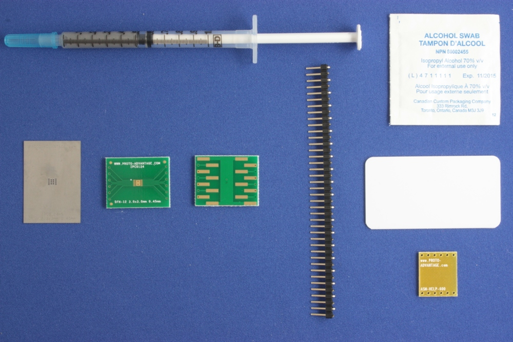 DFN-12 (0.45 mm pitch, 3.0 x 3.0 mm body) PCB and Stencil Kit 0
