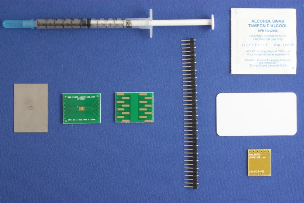 DFN-12 (0.45 mm pitch, 3.0 x 3.0 mm body) PCB and Stencil Kit 0