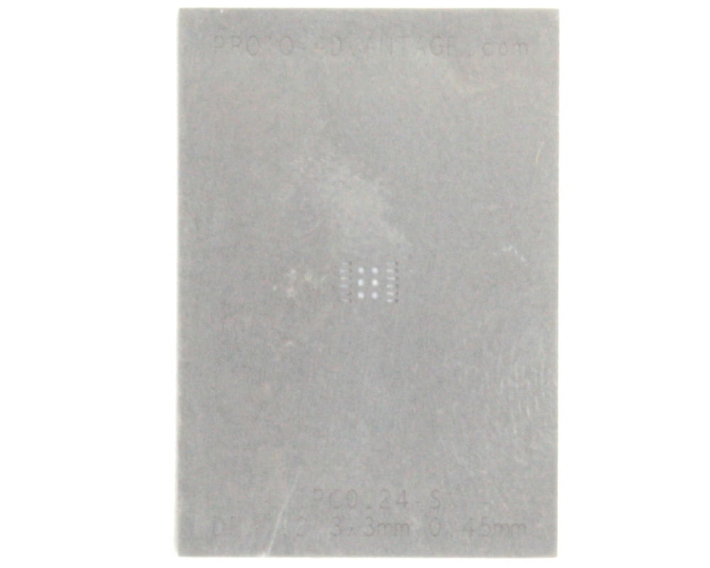DFN-12 (0.45 mm pitch, 3.0 x 3.0 mm body) Stainless Steel Stencil 0