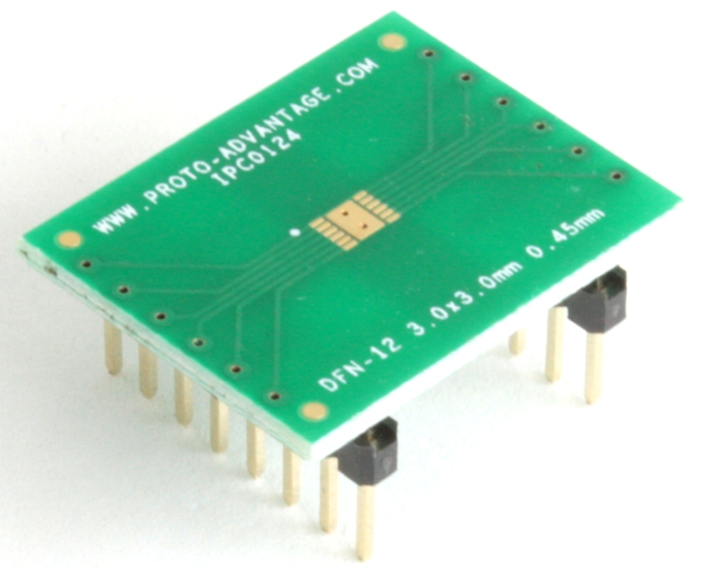 DFN-12 to DIP-16 SMT Adapter (0.45 mm pitch, 3.0 x 3.0 mm body) 0