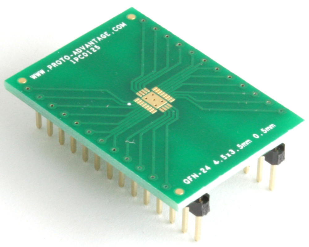 QFN-24 to DIP-28 SMT Adapter (0.5 mm pitch, 4.5 x 3.5 mm body) 0