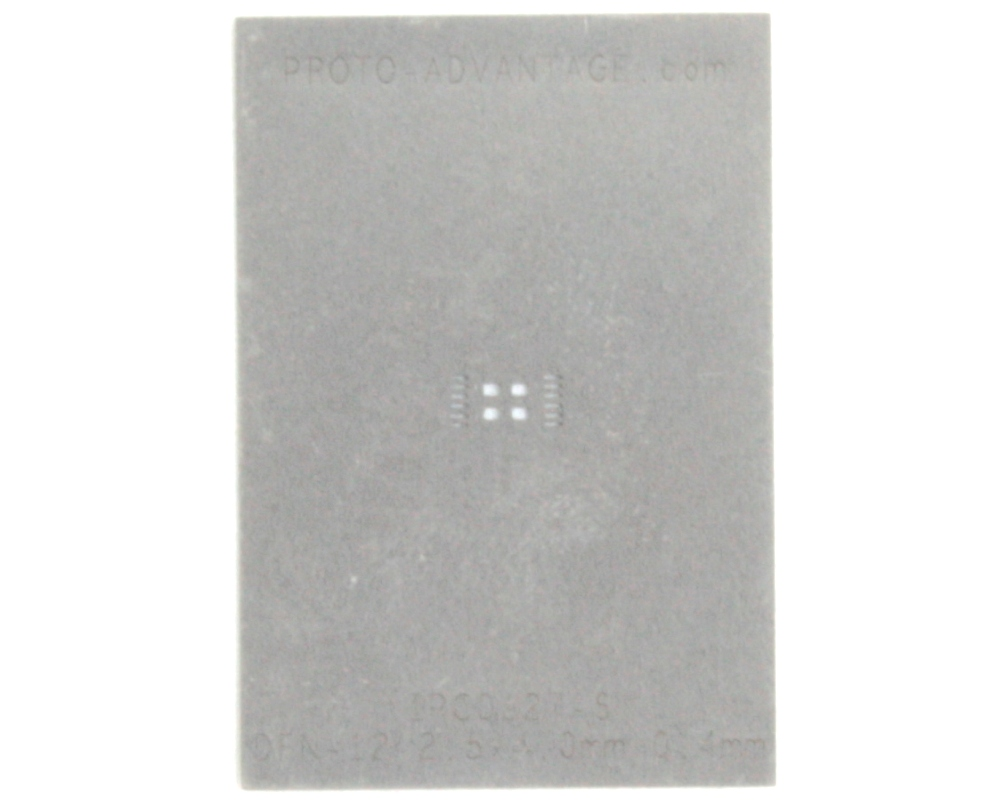 DFN-12 (0.4 mm pitch, 2.5 x 4.0 mm body) Stainless Steel Stencil 0