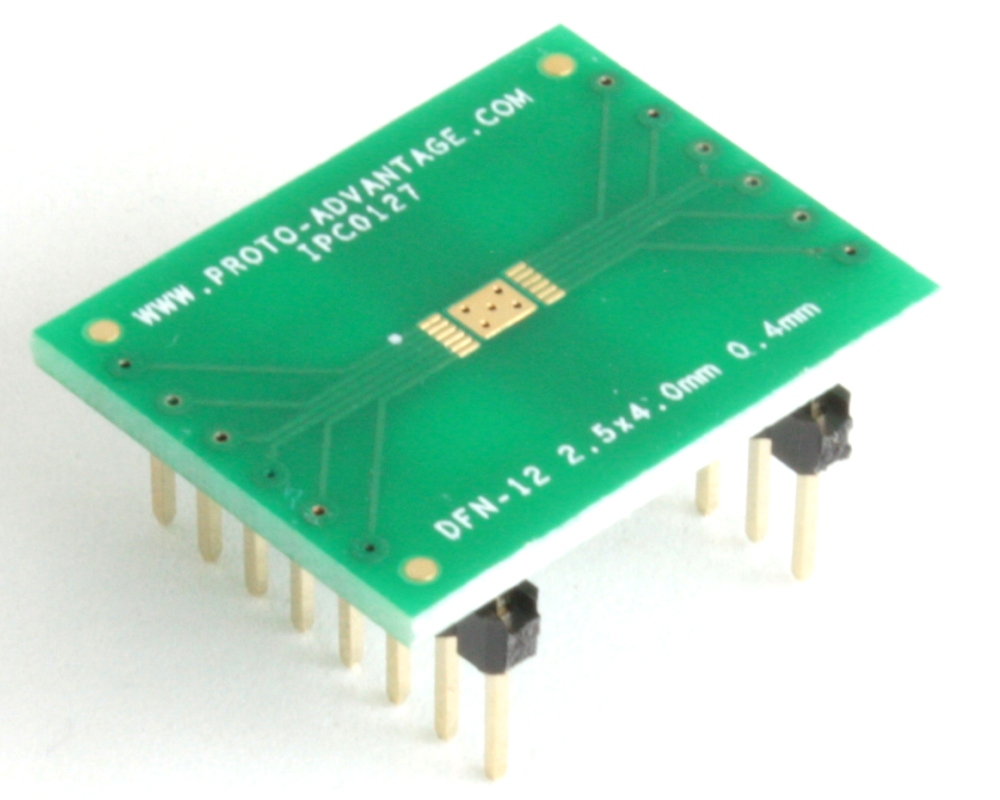 DFN-12 to DIP-16 SMT Adapter (0.4 mm pitch, 2.5 x 4.0 mm body) 0