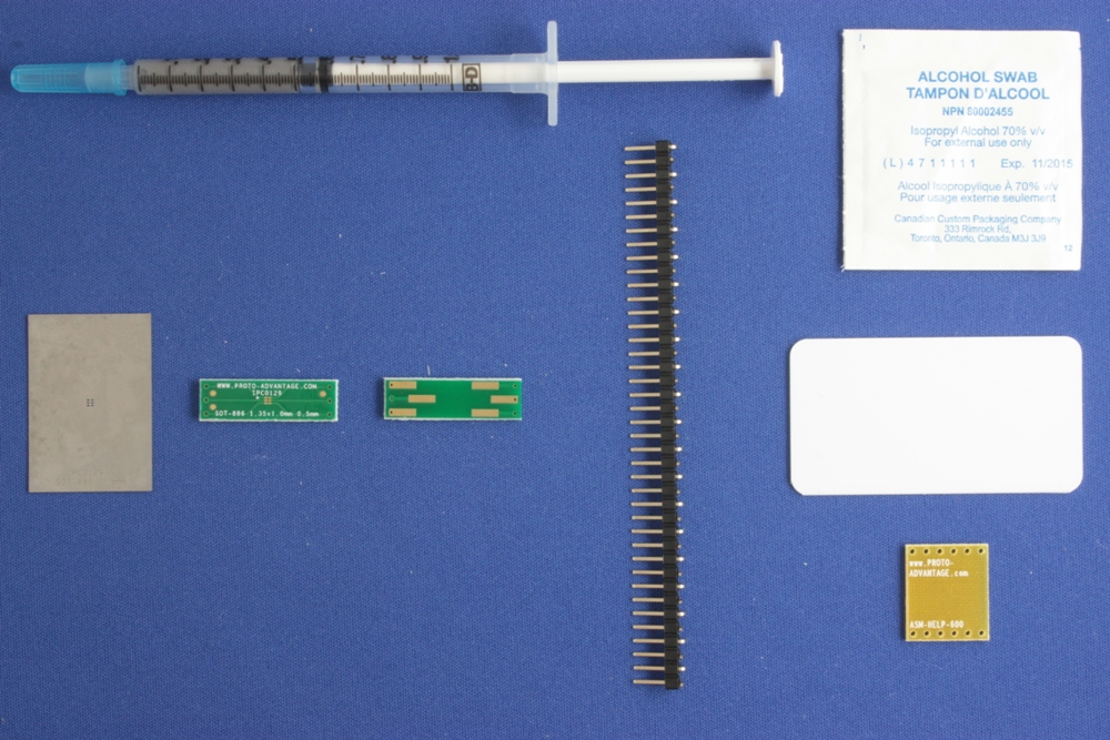 SOT-886 (0.5 mm pitch, 1.35 x 1.0 mm body) PCB and Stencil Kit 0